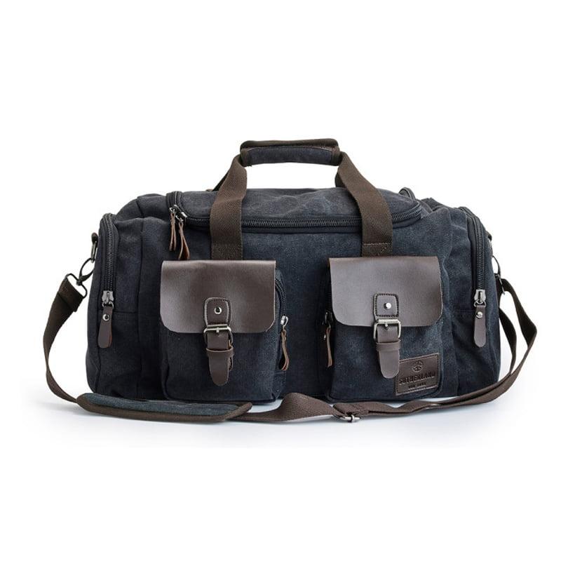 Snygg trendig duffelbag med imitationsläder från Sutherland & Sons